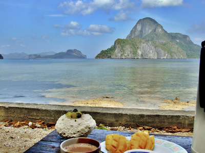 Breakfast on a tropical beach
