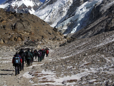 Guide group going to Everest