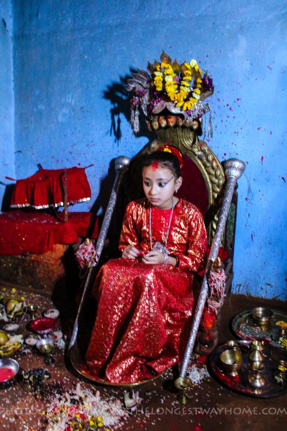 The Patan Kumari on her throne