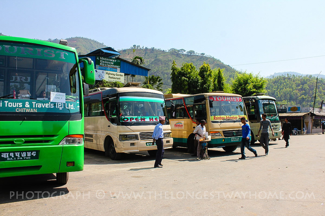Typical example of tourist buses in Nepal