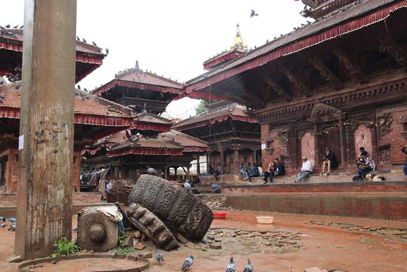 King Malla's column still stands broken in Kathmandu Durbar square