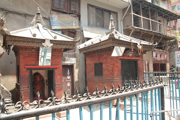 The Hanuman, Ganesh and Shiva shrines in Thamel