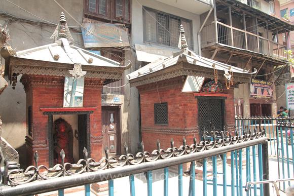 The Hanuman, Ganesh and Shiva shrines in Thamel