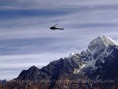 Mountain helicopter flight in Nepal