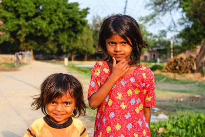 Two Nepalese children staring