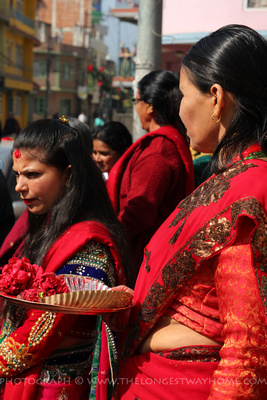 Nepali women in red celebrating Teej in Nepal