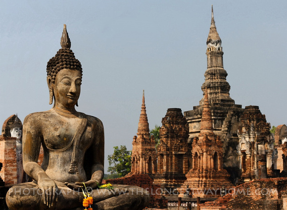 Buddha statue and temple in Sukhothai