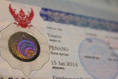 A Thailand visa sticker