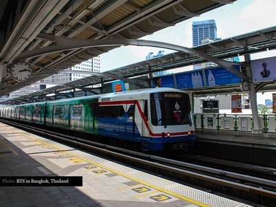 BTS train and station in Bangkok, Thailands