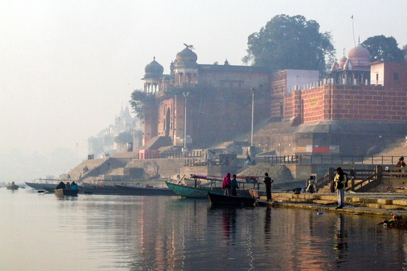 Ghats on the Ganges in Varanasi, India