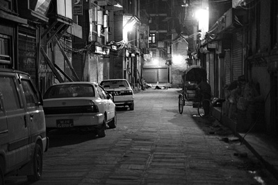 Kathmandu street at night