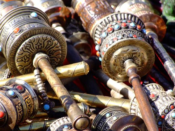 Prayer Wheel souvenirs for sale in Kathmandu, Nepal