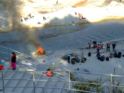 Cremations take place near the river mining by the river Seti