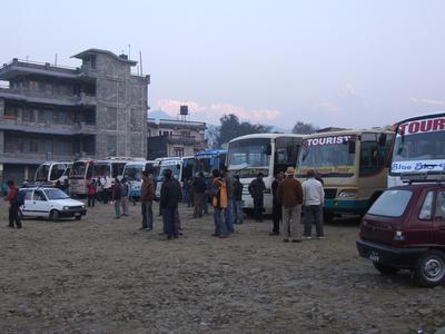 Pokhara's tourist bus park