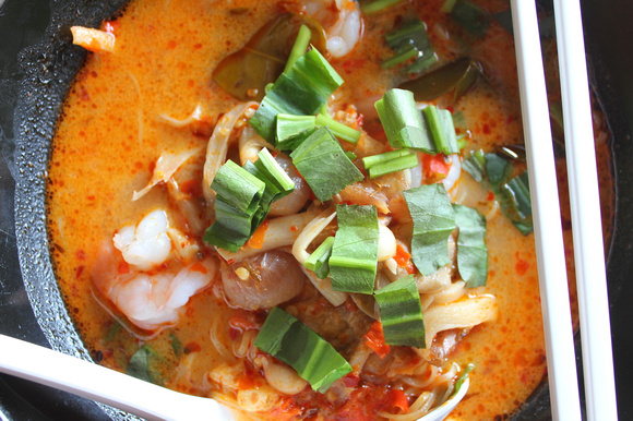 Tom Yam soup with prawns from Thailand