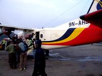 Boarding the flight to Lukla