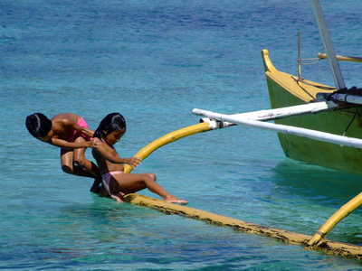Diving off a boat in The Philippines
