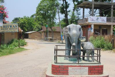 Sauraha's elephant statue