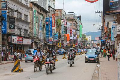 Busy road in Kathmandu