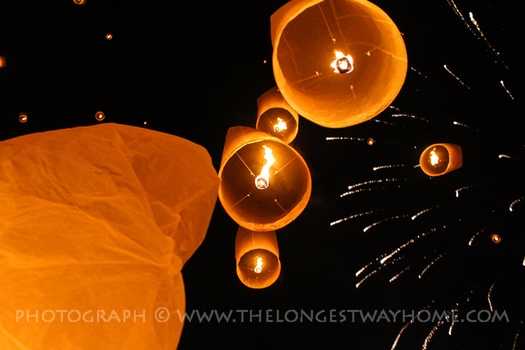 Sky lanterns and fireworks