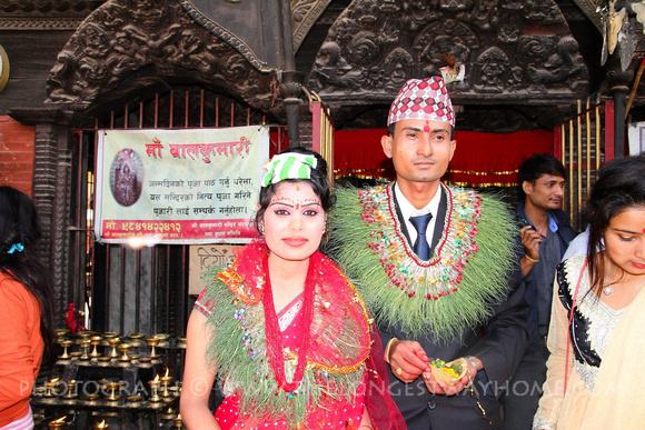 The happy couple as they emerge from the Balkumari temple