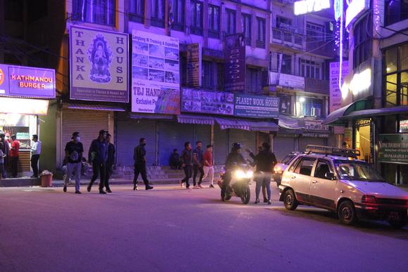 Narshing Chowk in Thamel at night