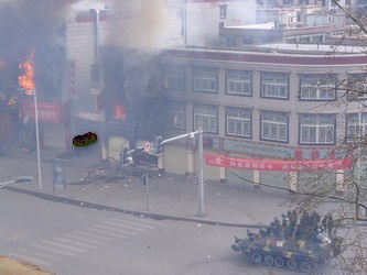 Blacked out riot photo from Tibet