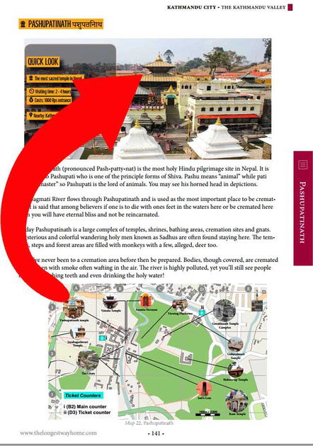 pashupatinath sample page from nepal guidebook