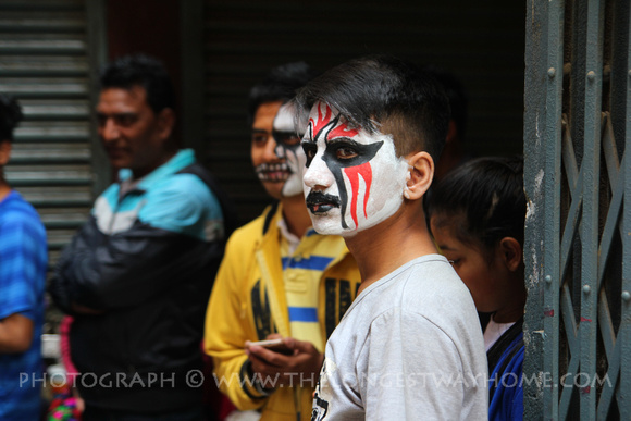 Artistic face paint designs used during Holi