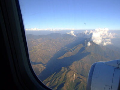 The Himalayan mountains from a plane