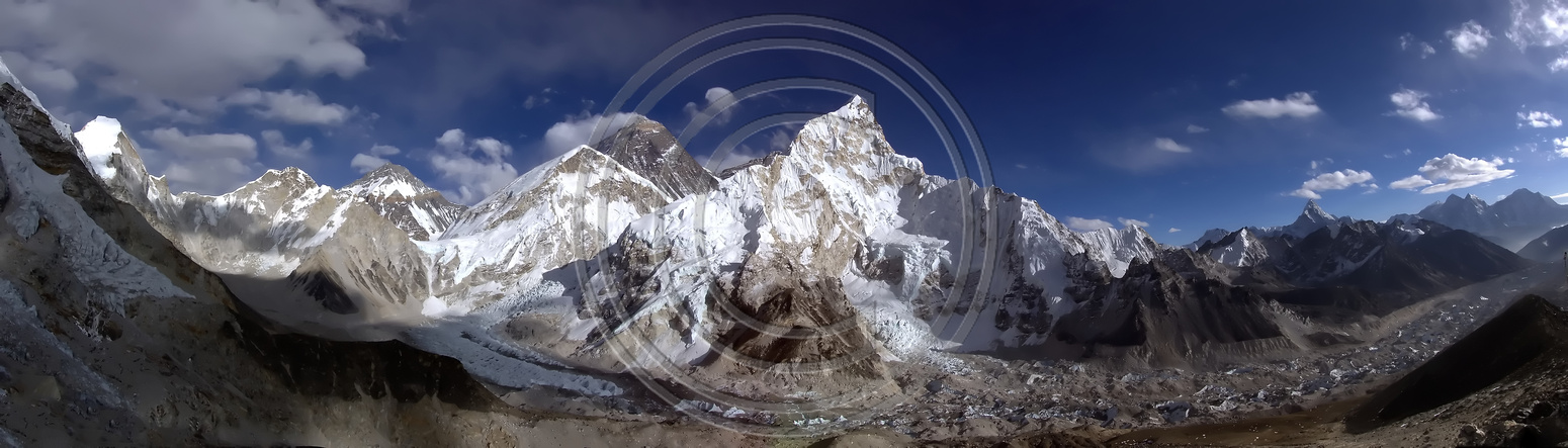 Panorama photograph of Mount Everest Base Camp from Kala Patthar