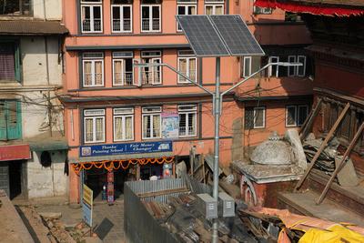 Ugly galvanised steel solar lights around Durbar Square