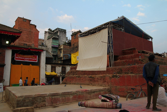Trailokya Mohan and a temporary press box is built where the temple once stood.