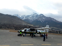 Domestic runway and plane in Nepal