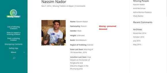 MissingTrekker.com missing trekker description