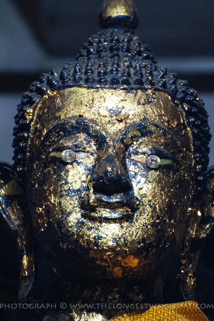 The diamond eyes of the Buddha statue