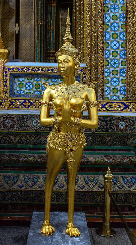 Statue of a kinnara just outside Wat Phra Kaew in Bangkok
