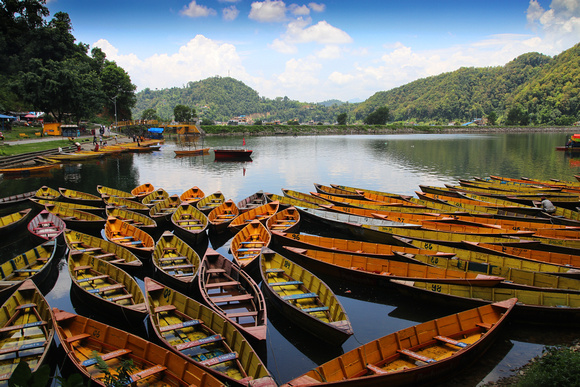 Boats by Begnas lake in Pokhara