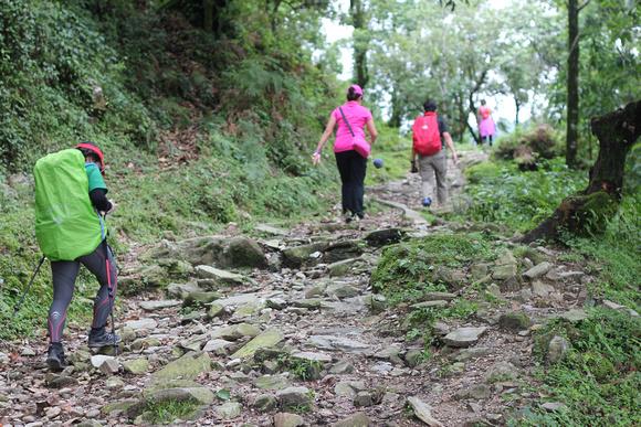 Trekkers during monsoon season in Nepal