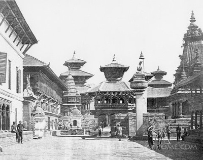 Old historic photograph of Bhaktapur Durbar Square