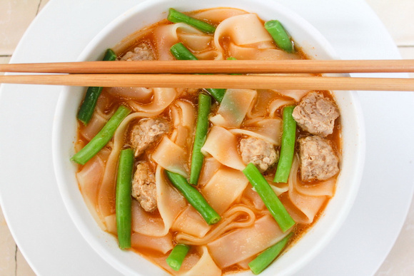 A bowl of Sukhothai noodles in Thailand