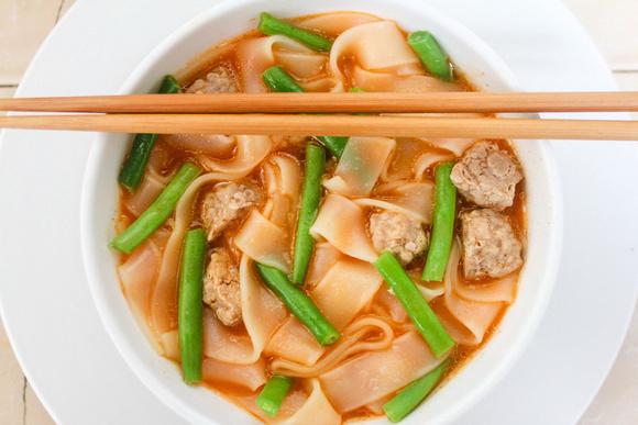 A bowl of Sukhothai noodles in Thailand