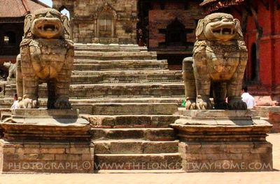 Stone Lions in Bhaktapur