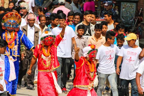 The Majipa Lakhey (demon) of Kathmandu along with other Lakheys
