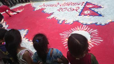 Children celebrating Nepal's new constitution