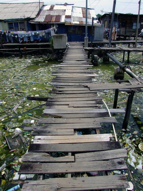 The slums and cheap housing in Kota Kinabalu, Sabah, Malaysia
