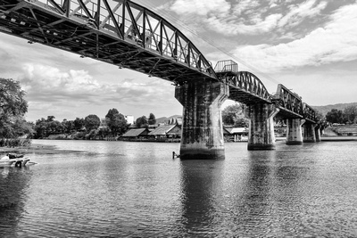 Bridge over river Kwai photograph in black & white