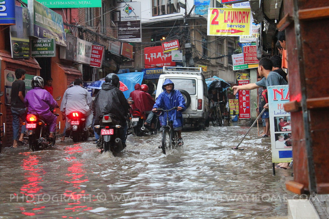 Thamel Kathmandu during monsoon flooding