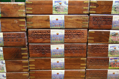 Ornate tea boxes inside the shop