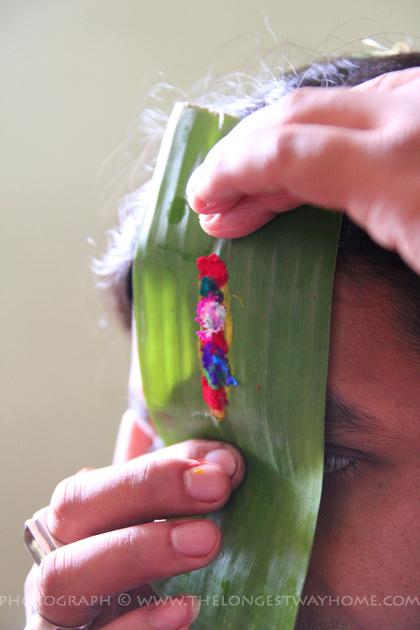 Banana leaf used to help create the colorful tika